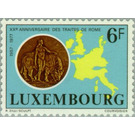 """""""Europe with bull"""" as a coin, map of the EC countries - Luxembourg 1977 - 6"""